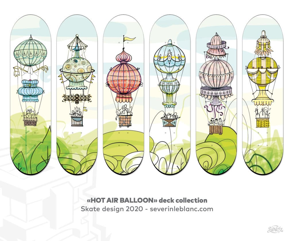 Hot air balloon deck family, skate graphics. sevedesign2020 www.severinleblanc.com